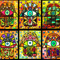 6 ACEO Set Canvas Giclee Prints Judaica by SandraSilberzweigArt