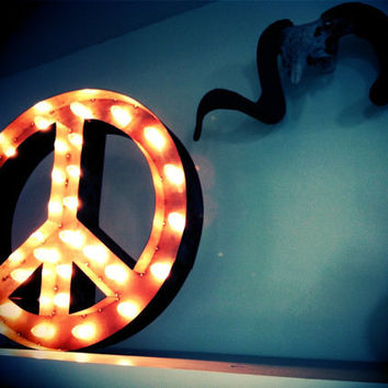 Vintage Marquee Lights Peace Sign by VintageMarqueeLights on Etsy