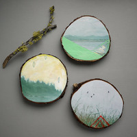 Beach, set of three mini art on wood