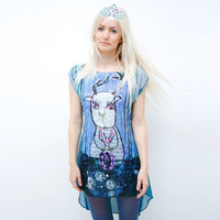 Deer princess- mint green and blue multicoloured chiffon dress