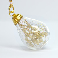 White dried baby's breath flower tear drop blown by thestudio8