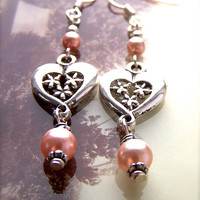 Pink Pearl Earrings, Silver Heart Dangles, Pale Blush, Bridesmaid, Feminine, Elegant, Delicate, Pretty Earrings