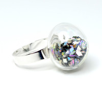 Prism glitter in hand blown glass adjustable ring.
