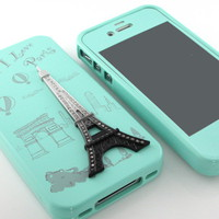 G&amp;J New Mint Eiffel Tower hard silicone case cover+Mint film for iPhone 4 4S 4G