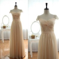 Champagne Chiffon Pearls Beaded Cap sleeves Chiffon Prom Dress