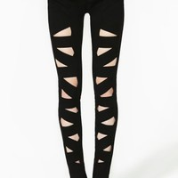 Lattice Leg Skinny Jeans