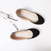 up-cycled suede ballet flats. black velvet.