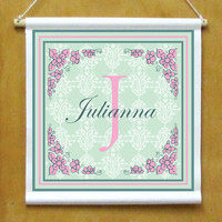 Girls Personalized Hanging Monogram Sign Printed Banner with Flower Border Mint Green and Pink