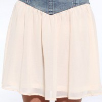 Denim Yoke Chiffon Miniskirt
