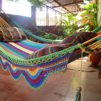Yellow Multicolor Hammock, Double Hammock Hand-Woven  Simple Fringe