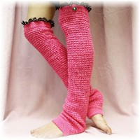 LW23 Shocking Pink leg warmers Dancer extra long