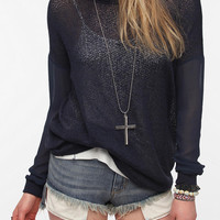 Urban Outfitters - Sparkle &amp; Fade Chiffon Sleeve Sweater Knit Top