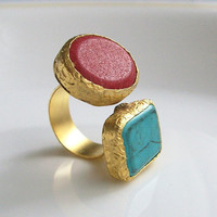 Coral and Turquoise stone dual or Double 22K Gold by PeriayJewelry