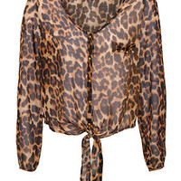 Madam Rage Leopard Print Tie Front Blouse