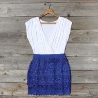Tucked Lace Dress in Blue, Sweet Women&#x27;s Country Clothing