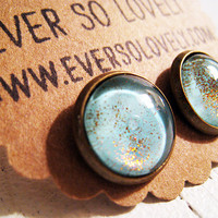 ocean water and sand light blue and gold sparkly earrings by eversolovely