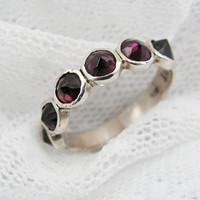 Sterling silver &  natural Garnet spikes design ring (sr-9531)