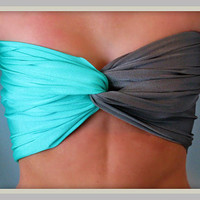 Aqua And Grey Spandex Bandeau Top