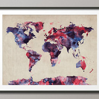 Watercolor Map of the World Map, Art Print, 18x24 inch (103)