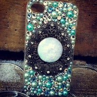 Sparkly Opal Blue & Ivory iPhone 4/4s case by SparklingCases