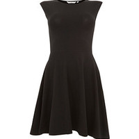 Black Cap Sleeve Skater Dress