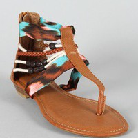 Bamboo Poppy-96 Beaded T-Strap Thong Flat Sandal