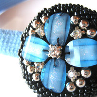 Beaded Brooch Elastic Headband Rhinestone Black and Blue