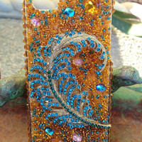 iPhone 5 Gorgeous Golden Peacock bling case