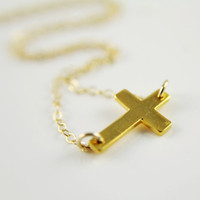 Sideways Cross Necklace 24k Gold Vermeil by anatoliantaledesign