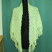 vintage mint green crochet shawl. mint green afghan. mint green poncho