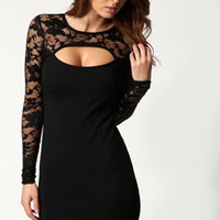 Jasmine Long Sleeve Lace Cutout Bodycon Dress