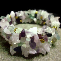 Amethyst, Rose Quartz and Fluorite Stone Chip Bracelet  Purple, Pastel Pink and Seafoam Green