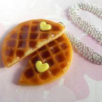 polymer clay best friend round waffle necklace with heart shaped butter - bff valentine's day