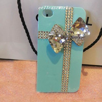 Custom cute iPhone 5 Case, Mint Green sparkly iPhone Case, studded clean Jewels Cross crystals Bow Shiny iPhone 4 Case Bling iPhone 4S Case