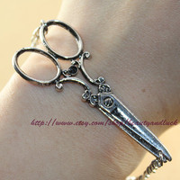 Antique Silver  Scissors Bracelet