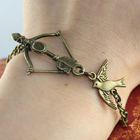 Antique bronze bow with cute bird bracelet:)