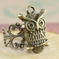 Antique Bronze  MR OWL  adjustable ring