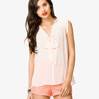 Sleeveless Tie Neck Blouse