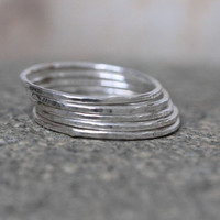 5 Set of Sterling Silver Skinny Hammered Bands.Sterling Silver Solid Rings.Sterling Silver Stack Rings.Silgle Sterling Silver Ring.