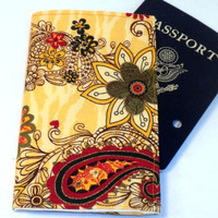 Passport Cover  Yellow flower paisley by redmorningstudios on Etsy