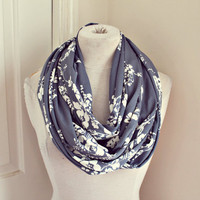 blue jean and white flower infinity scarf. Last one in stock.