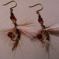 Fishing Fly Earrings  Black White Brown and Red by MajaEarrings