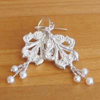 Acanthus Leaf Silver and Pearl Earrings