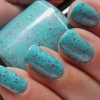 Sea Nymph Nail Polish - Limited Edition Soft Aqua Glitter Nail Polish - 0.5 oz Full Sized Bottle