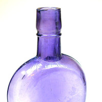 1800s Coffin Flask, Victorian purple glass bottle, half pint whiskey flask.