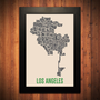 LOS ANGELES California Typography Map Print  12 by FlyingJunction