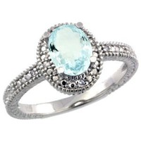 Sterling Silver Vintage Style Oval Aquamarine Stone Ring w/ 0.04 Carat Brilliant Cut Diamonds & 0.80 Carat (7x5mm) Oval Cut Gemstone (Available in Sizes 5 to 10), size 7: Jewelry: Amazon.com