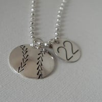 Baseball, Softball Solid Sterling Silver Custom Made Hand Stamped Personalized Sports Necklace with Number Charm