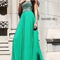 Sherri Hill Strapless Beaded Evening Gown 1539