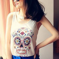 HEGO White T-Shirt With Floral Skull W002B